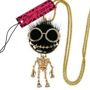 Betsy Johnson Skeleton Pendant Necklace